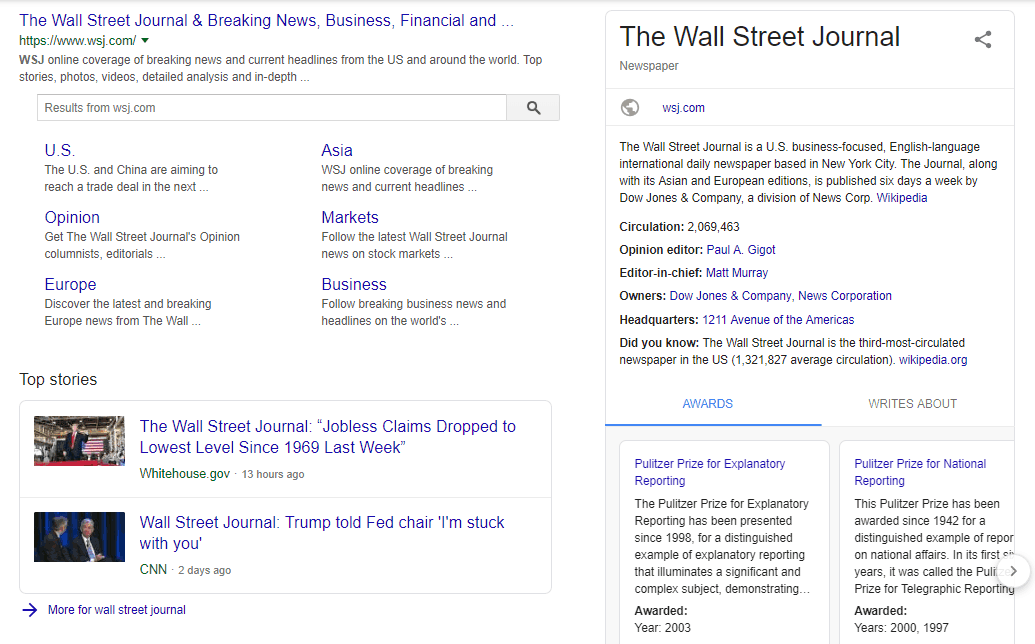 The Wall Street Journal page powered with article schema markup shown in SERP
