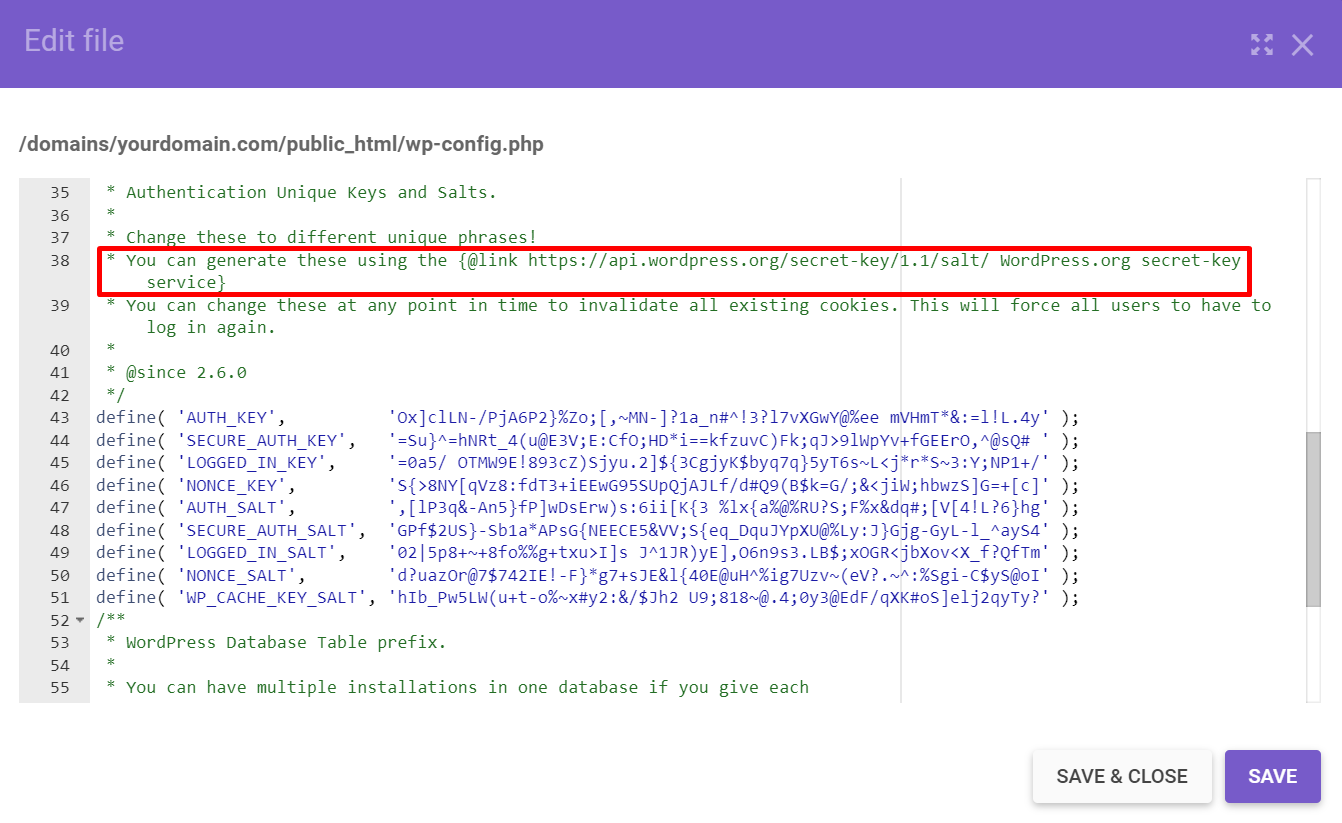 Copying a link to generate new WordPress salts and security keys in the wp-config.php file.