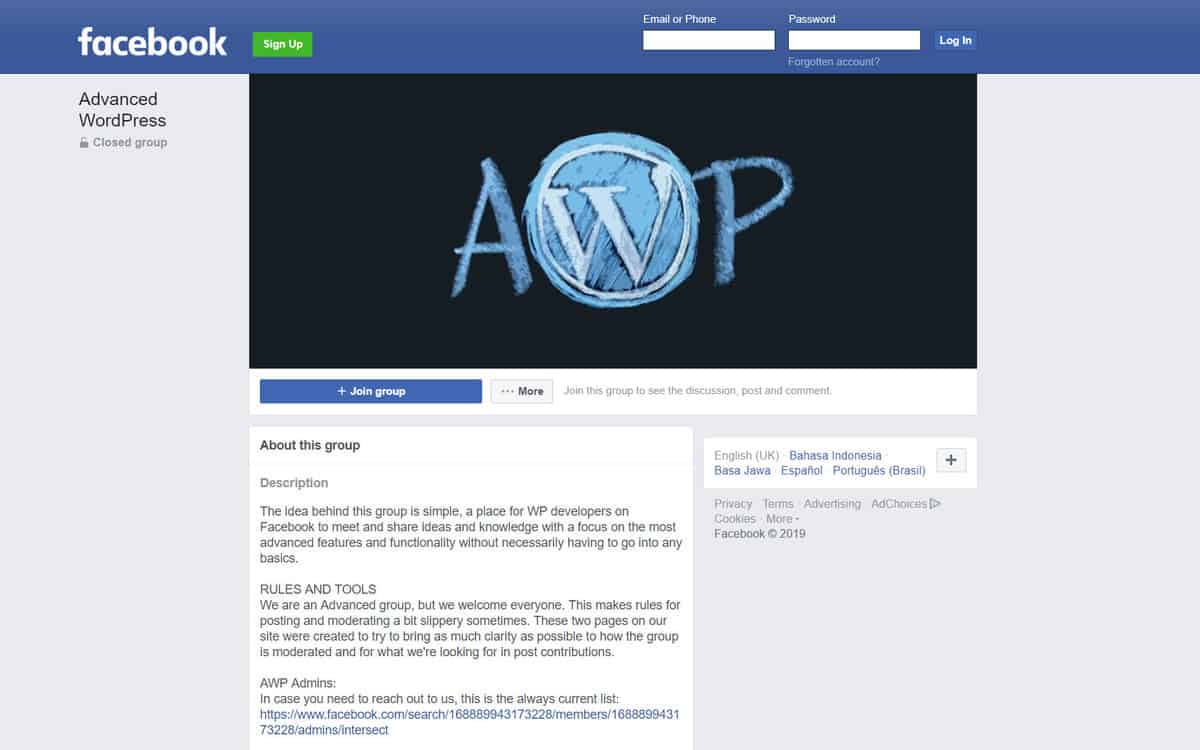 The Facebook page of AWP (Advanced WordPress) group.