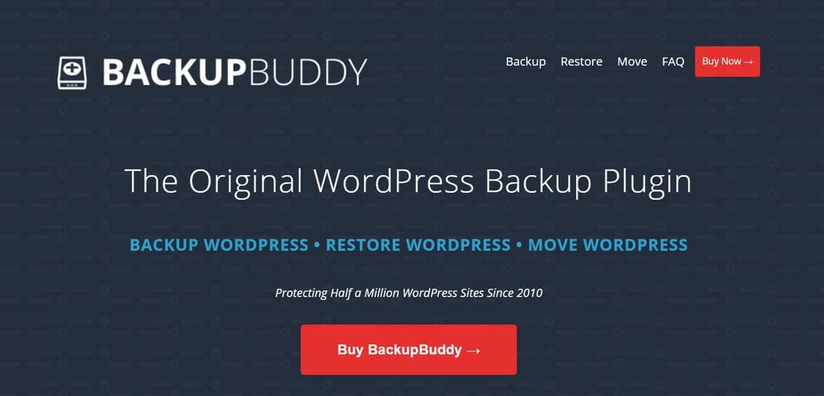 BackupBuddy's splash page