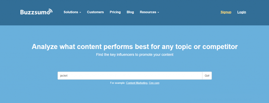 Trang web Buzzsumo