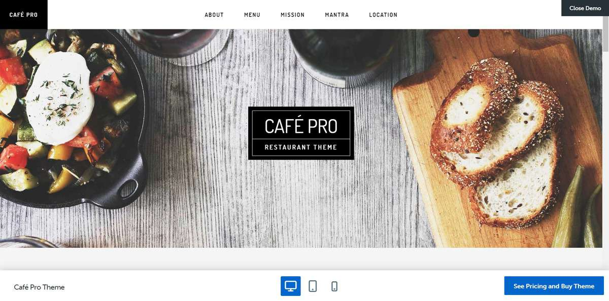 The demo of Cafe Pro theme