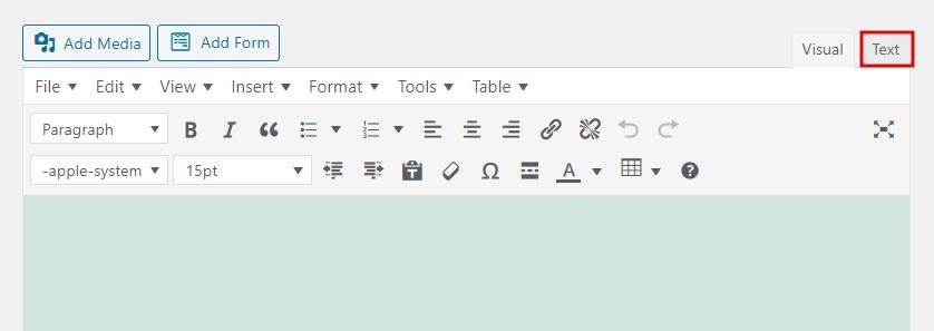 Screenshot highlighting classic editor's text tab