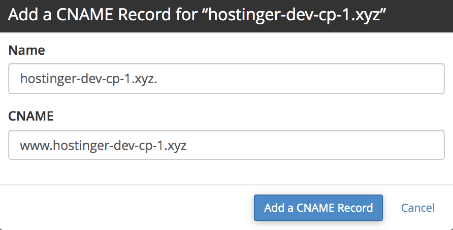 add cname record in cpanel