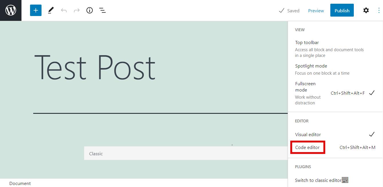 Screenshot highlighting Gutenberg's code editor button