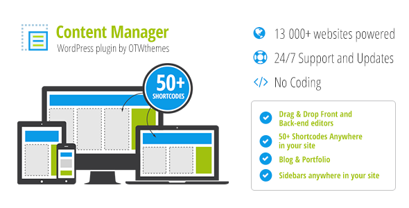 Content manager for WordPress plugin banner
