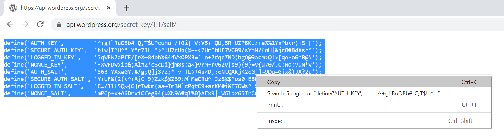Generating new WordPress salts and security keys.