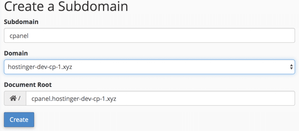 create subdomain in the tool