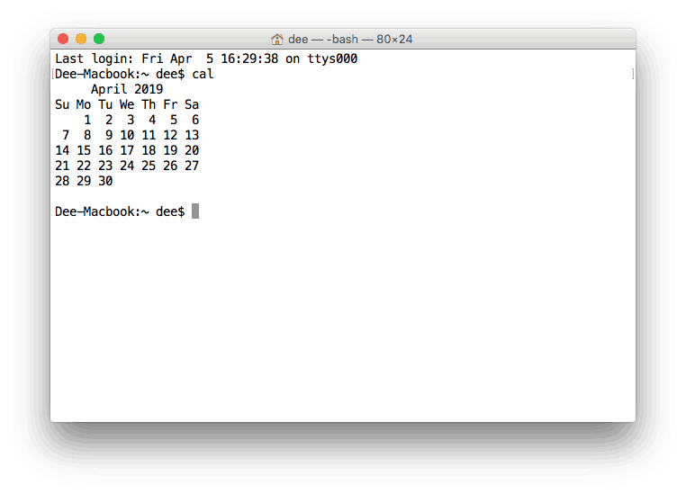 Displaying Calendar in Terminal