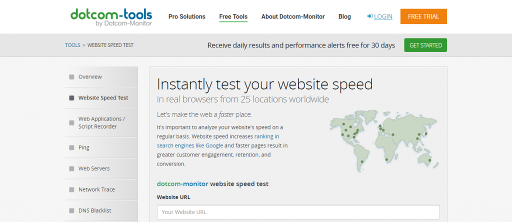 website speed test dotcom monitor