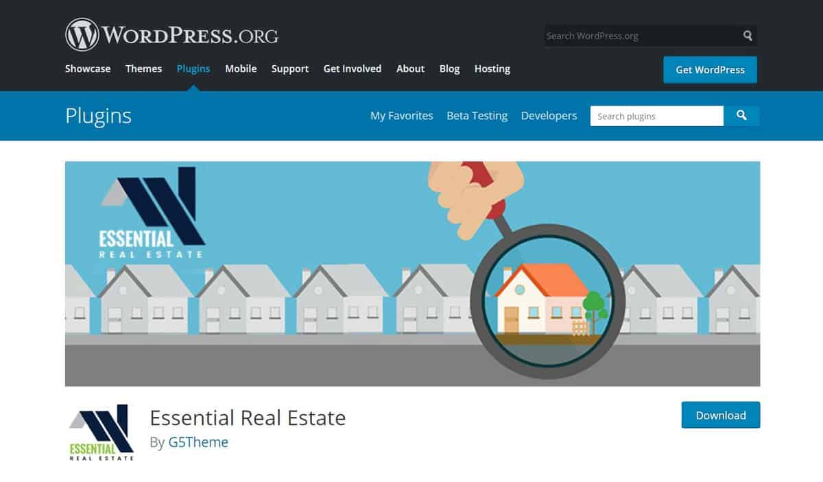 essential real estate plugin's WordPress page