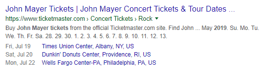 John Mayer's concert schedule page powered with event schema markup