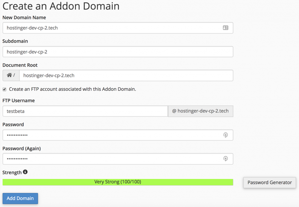 set up the domain name and ftp account for the addon domain