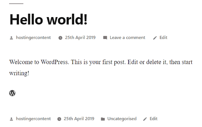 The preview of WordPress icon from Font Awesome in WP post