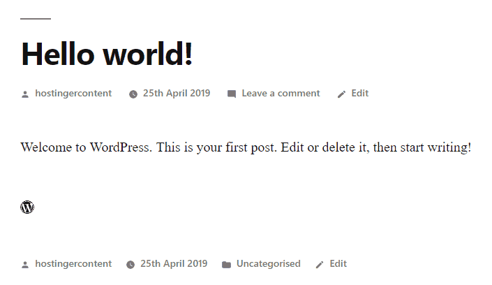 The preview of the WordPress icon that is linked to WordPress.com