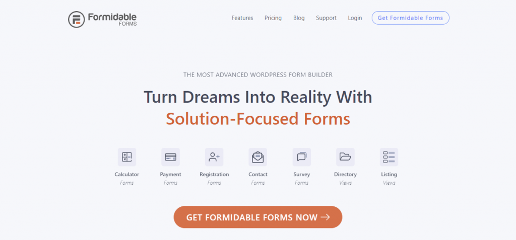Formidable Forms donation plugin comes with numerous form types and templates