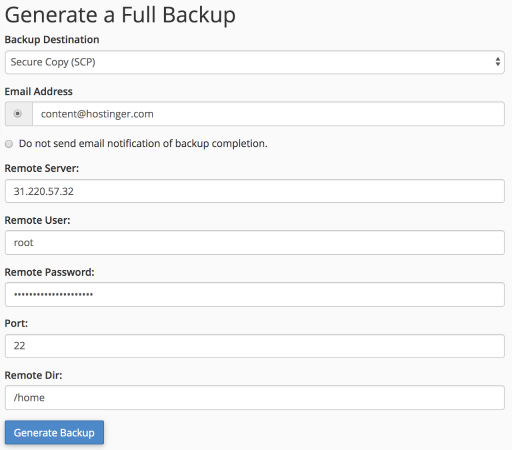 generate and transfer full backup using SCP in cpanel