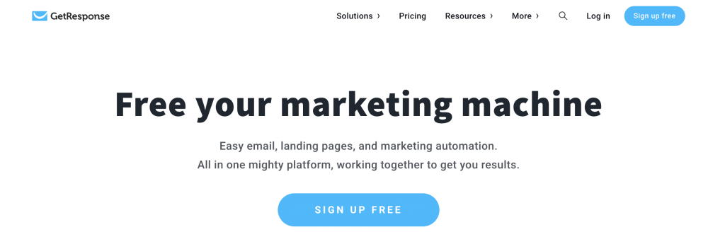 GetResponse email marketing service landing page