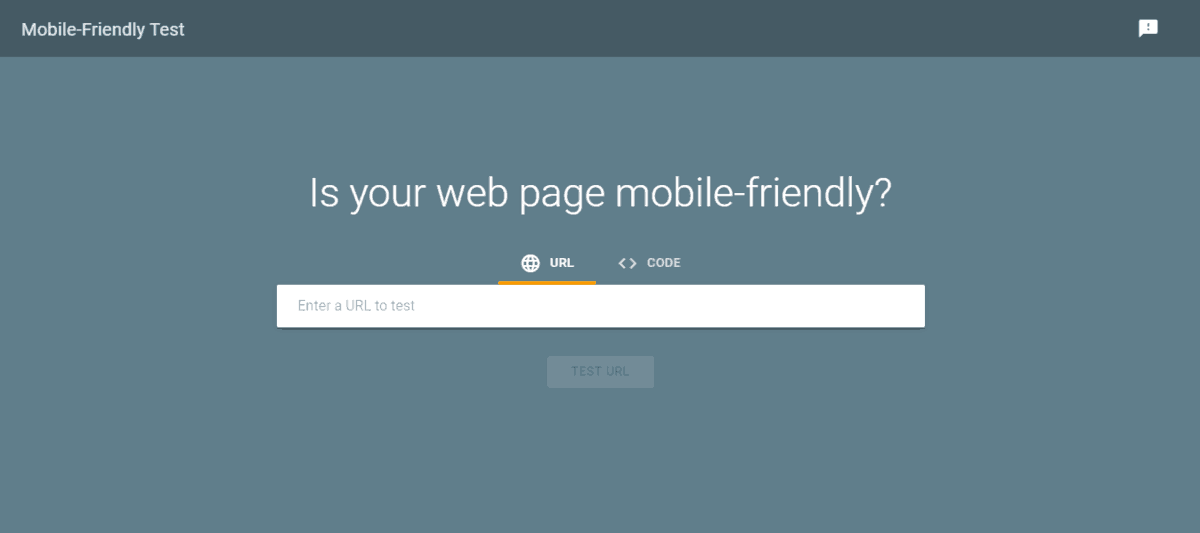 google mobile-friendly test tool landing page