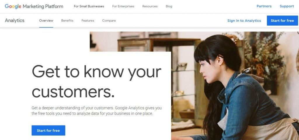 Google Analytics web page