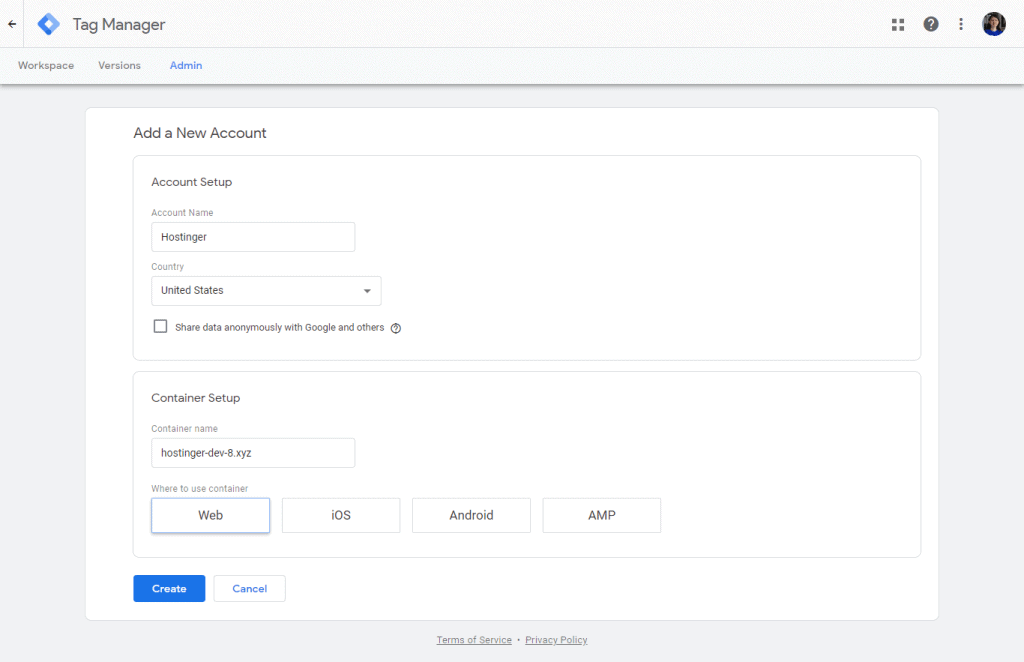 Google Tag Manager Sign Up page