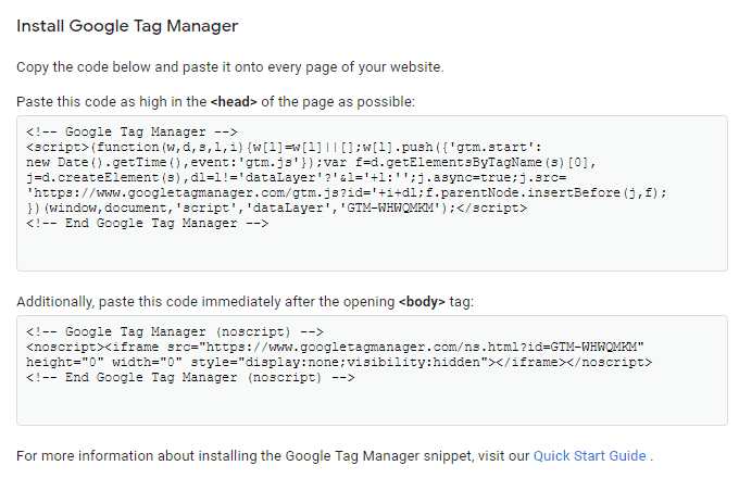 Google Tag Manager tracking codes