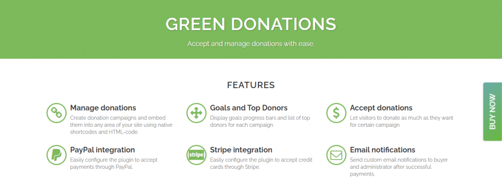 Green Donations WordPress plugin comes equipped with donation progress bars