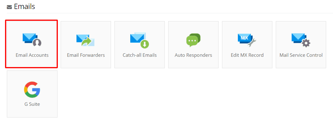 Email section on Hostinger control panel.