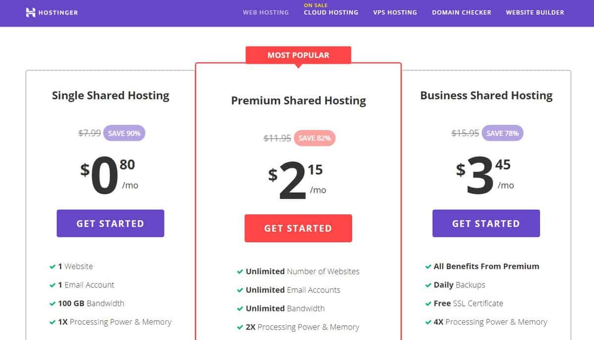 Hostinger Shared Hosting Plan options