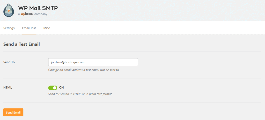 WP Mail SMTP Email Test Feature