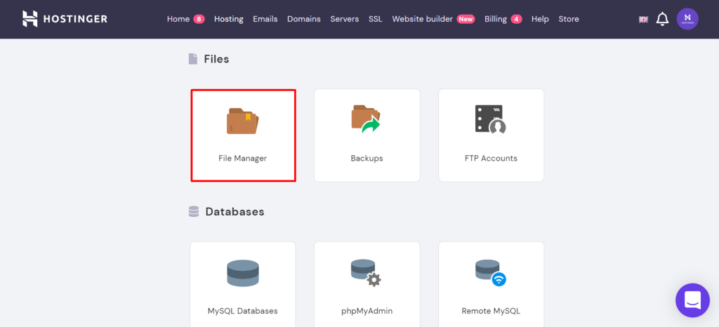Searching for the File Manager in hPanel.