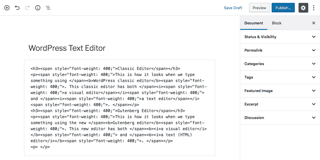 HTML Tags on WordPress Text Editor