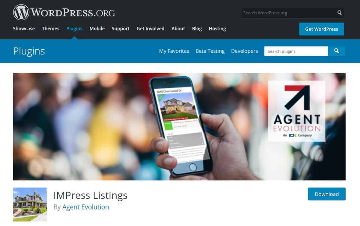 Impress Listings plugin WordPress page