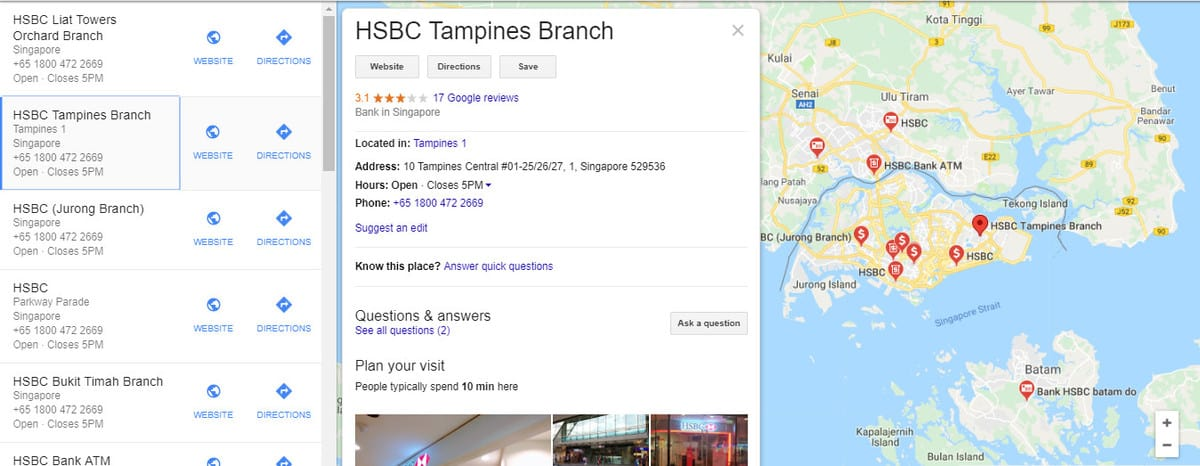 HSBC bank powered with local business data markup that can preview all the bank branch in Singapore