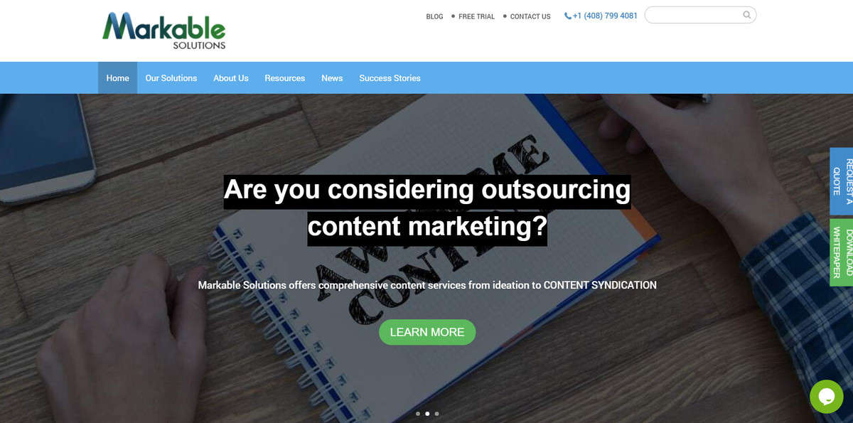 The homepage of Markable Solutions