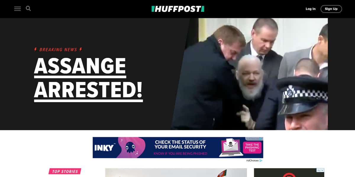 The homepage of The Huffington Post