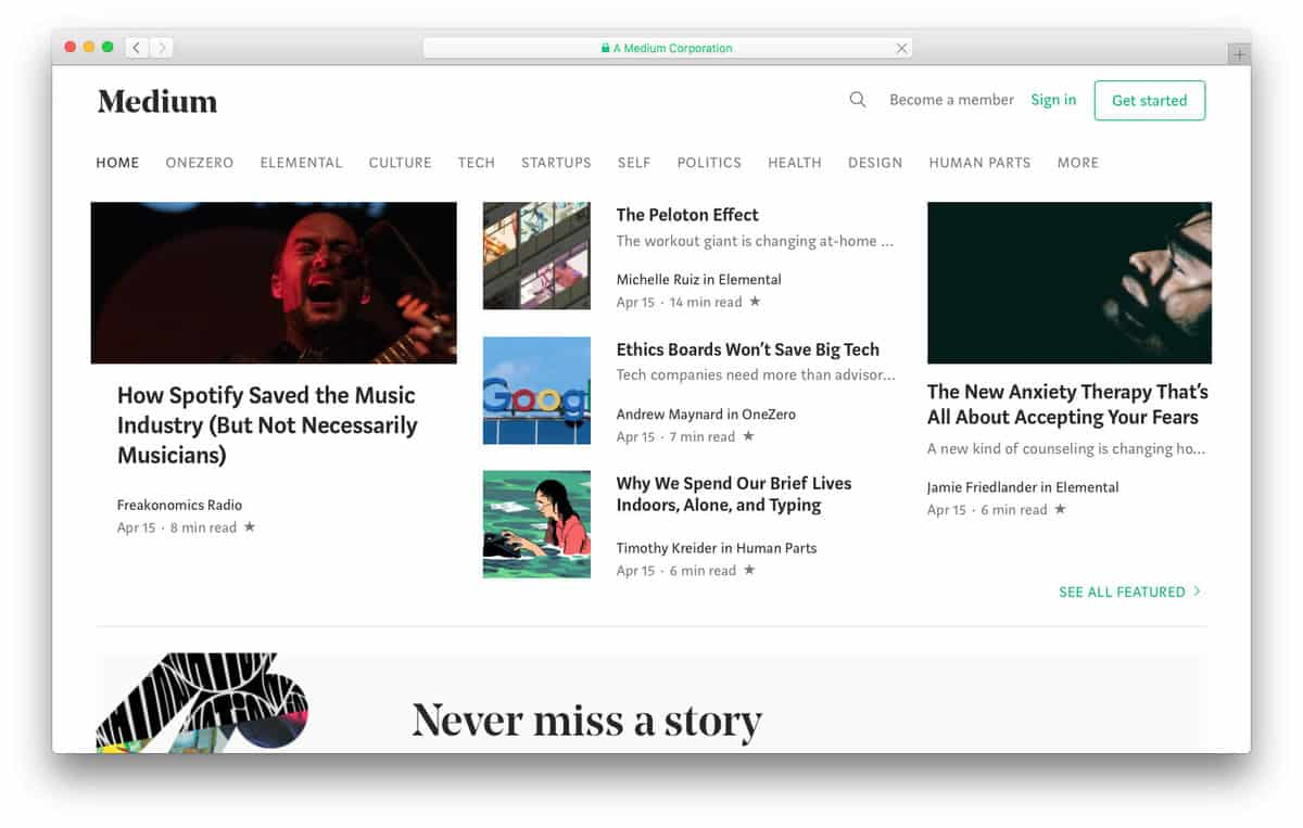 Medium is a Minimalist Publishing Platform for Writers and Storytellers