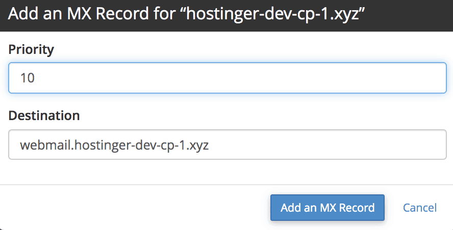 add mx record in cpanel
