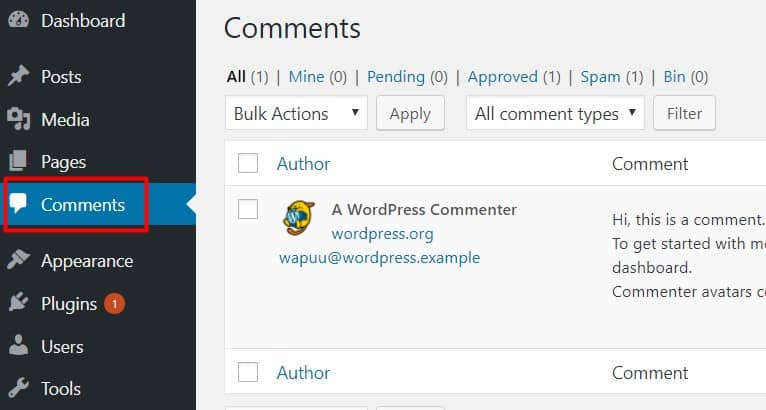 wordpress native comment section