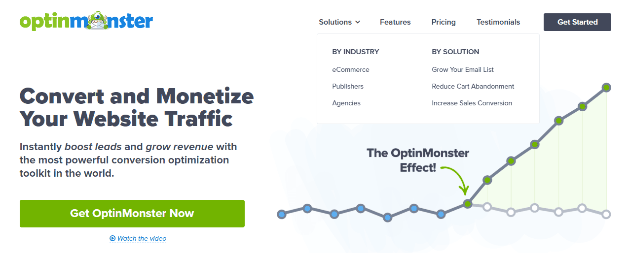 Page of Email Marketing Service Optin Monster