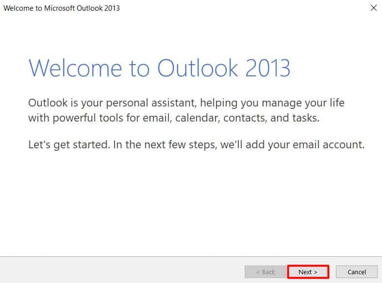 Microsoft Outlook 2013 welcome screen.