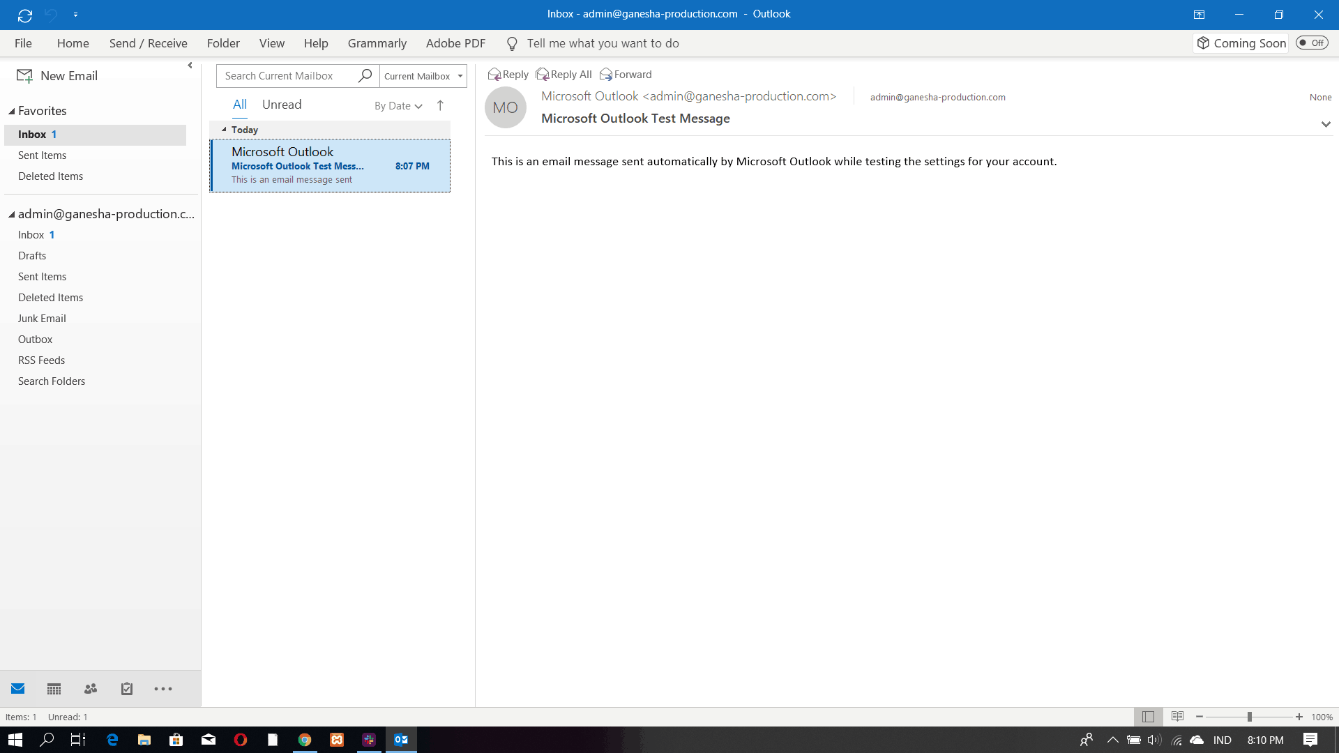 Microsoft Outlook 2016 interface