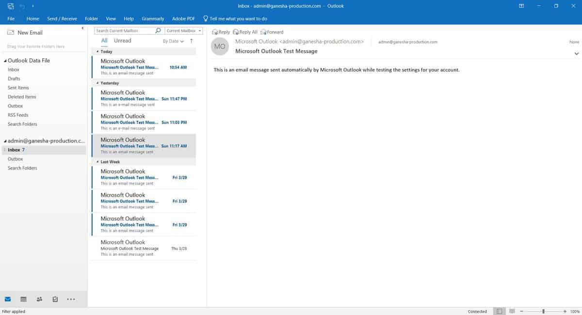 Microsoft Outlook 2019 interface.