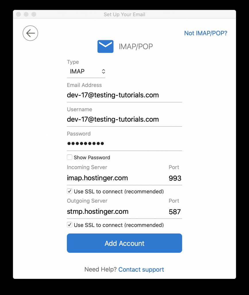 cấu hình imap pop3 để cài email lên outlook mail