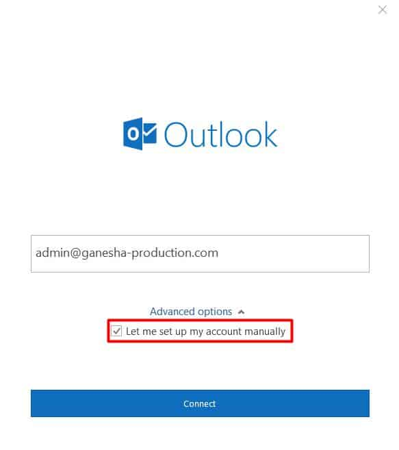 Choosing to set up account manually on Microsoft Outlook 2016 login interface.
