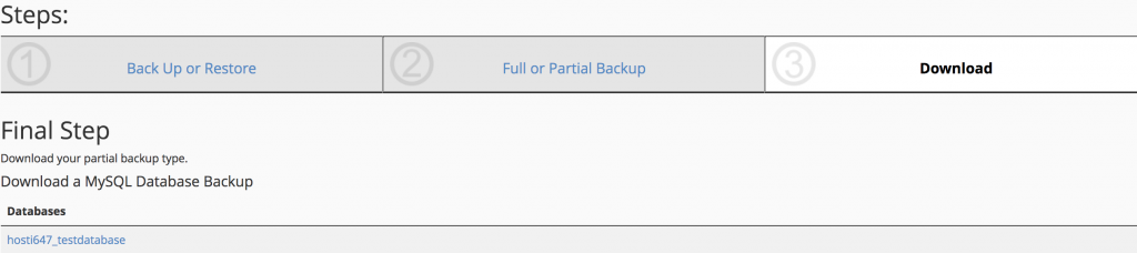 final step to download the partial backup