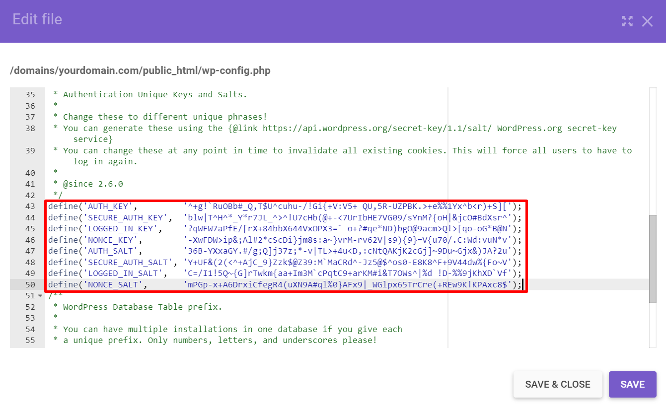 Pasting in the new WordPress salts and security keys in the wp-config.php file.