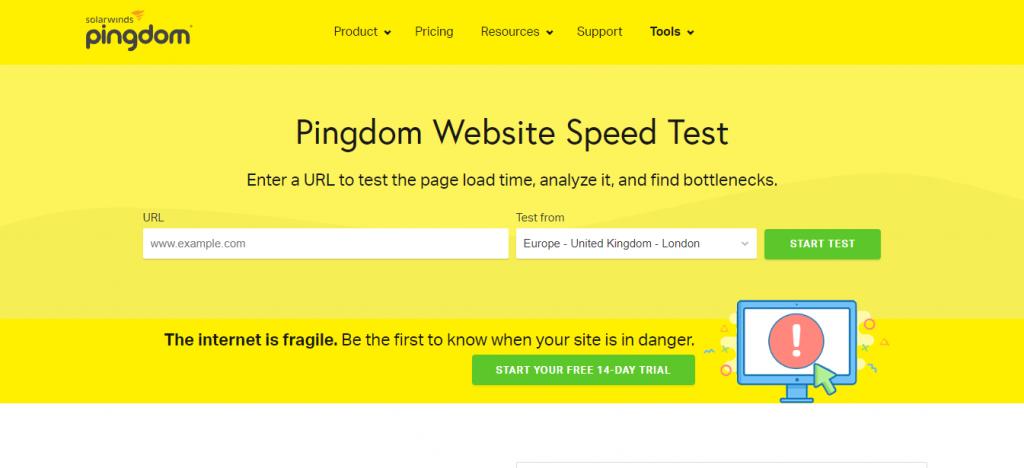 Công cụ kiểm tra tốc độ website pingdom