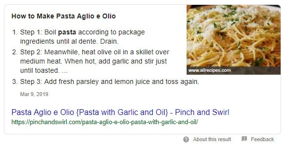 Aglio Olio Recipe page powered with recipe schema markup