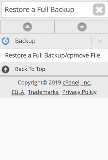 Restore a Full Backup/cpmove File tool in whm